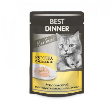 Влажный корм для кошек Best Dinner Exclusive Мусс сливочный Курочка с морковью 85 г