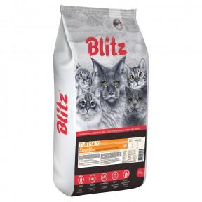 Сухой корм для кошек Blitz Turkey Sensitive для профилактики МКБ, для вывода шерсти, с индейкой 400 г