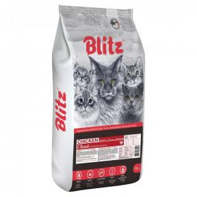 Сухой корм для кошек Blitz Chicken Classic для вывода шерсти, с курицей 10 кг