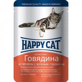 Влажный корм для кошек Happy Cat с говядиной, с печенью и с горошком (кусочки в желе) 100 г