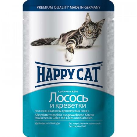 Влажный корм для кошек Happy Cat с лососем, с креветками (кусочки в желе) 100 г