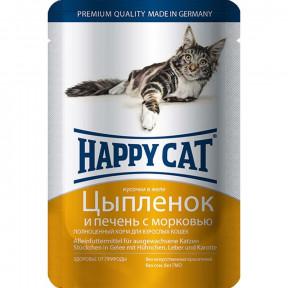 Влажный корм для кошек Happy Cat с курицей, с печенью и с морковью (кусочки в желе) 100 г