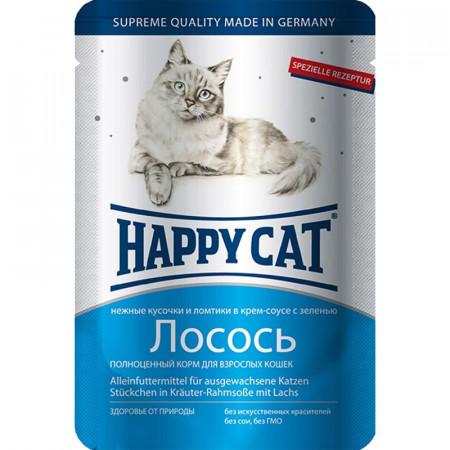 Влажный корм для кошек Happy Cat с лососем и с зеленью (кусочки в соусе) 100 г