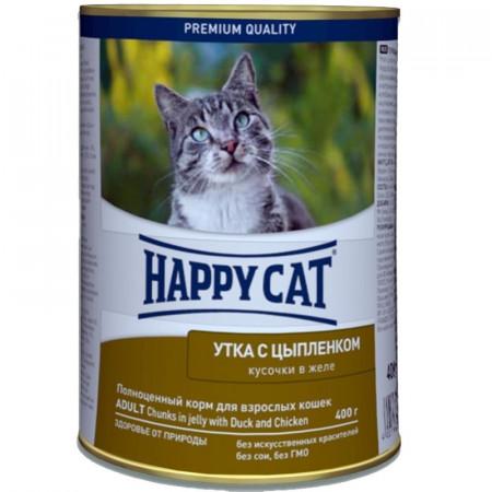 Влажный корм для кошек Happy Cat беззерновой, с курицей, с уткой 400 г