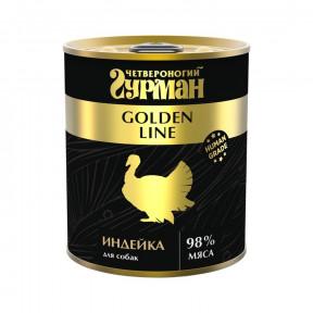 Влажный корм для собак Четвероногий Гурман Golden Line беззерновой индейка 340 г