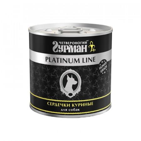 Влажный корм для собак Четвероногий Гурман Platinum Line, беззерновой сердечки курица 240 г