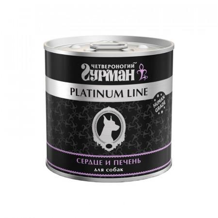 Влажный корм для собак Четвероногий Гурман Platinum Line, беззерновой печень, сердце 240 г