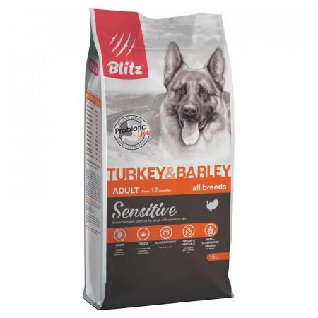 Сухой корм для собак Blitz Adult Dog Turkey & Barley All Breeds dry с индейкой с ячменем 15 кг