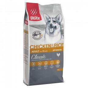 Сухой корм для собак Blitz Adult Dog Chiken & Rice All Breeds dry с курицей с рисом 15 кг
