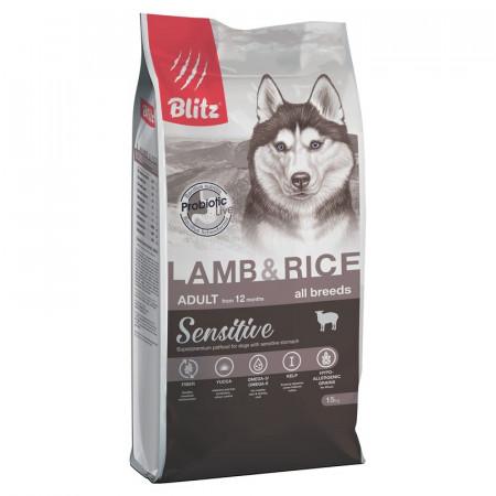 Сухой корм для собак Blitz Adult Dog Lamb & Rice All Breeds dry с ягненком с рисом 15 кг