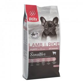 Сухой корм для щенков Blitz Puppy Lamb & Rice All Breeds dry с ягненком с рисом 15 кг