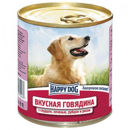 Влажный корм для собак Happy Dog NaturLine Вкусная Говядина, печень, сердце, рубец с рисом 750 г