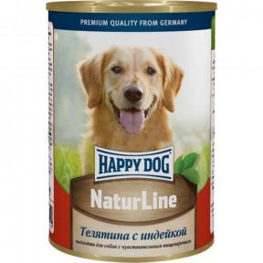 Влажный корм для собак Happy Dog NaturLine индейка, телятина 400 г