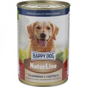Влажный корм для собак Happy Dog NaturLine телятина, сердце 400 г