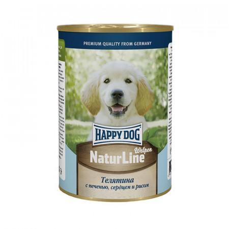 Влажный корм для щенков Happy Dog NaturLine телятина, печень, сердце с рисом 400 г