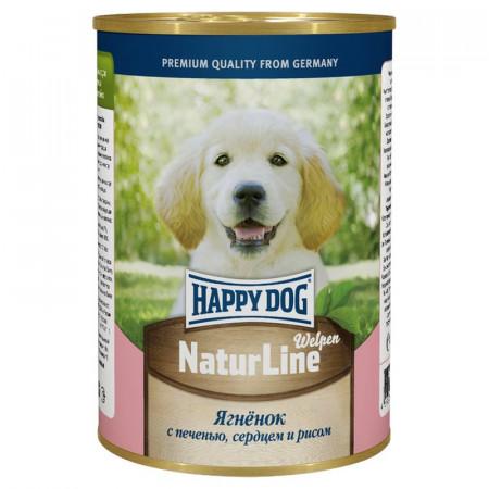 Влажный корм для щенков Happy Dog NaturLine ягненок, печень, сердце с рисом 400 г