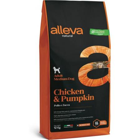 Сухой корм для собак Alleva Natural курица с тыквой (для средних пород) 12 кг