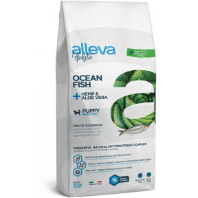 Сухой корм для щенков и юниоров Alleva Holistic беззерновой океаническая рыба с коноплей и алое вера (для крупных пород) 12 кг