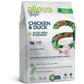 Сухой корм для кошек Alleva Holistic беззерновой с курицей и уткой, алоэ вера и женьшенем 400 г