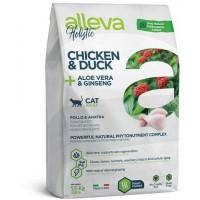 Сухой корм для кошек Alleva Holistic беззерновой с курицей и уткой, алоэ вера и женьшенем 1.5 кг