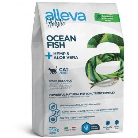 Сухой корм для кошек Alleva Holistic беззерновой с океанической рыбой, коноплей и алое вера 1.5 кг
