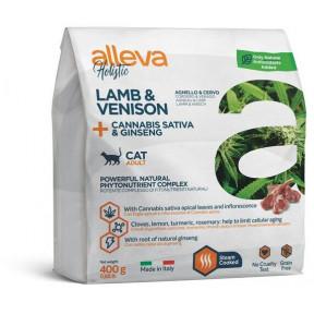 Сухой корм для кошек Alleva Holistic беззерновой с ягненком и олениной, коноплей и женьшенем 400 г