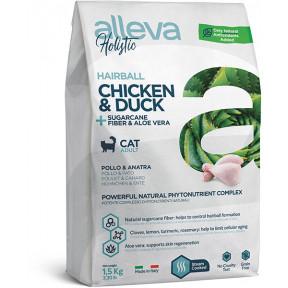 Сухой корм для кошек Alleva Holistic Hairball беззерновой с курицей и уткой, сахарным тростником и женьшенем 1.5 кг
