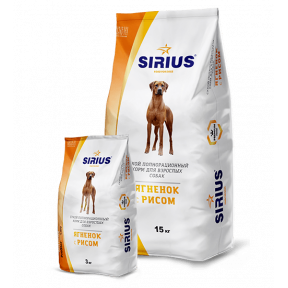 Сухой корм для взрослых собак Sirius Ягненок с рисом 15 кг