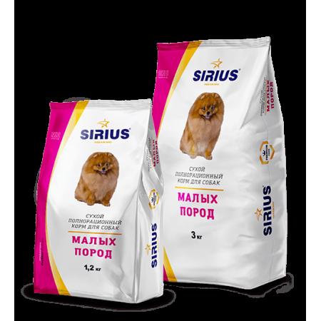 Сухой корм для взрослых собак Sirius Для малых пород с индейкой 10 кг