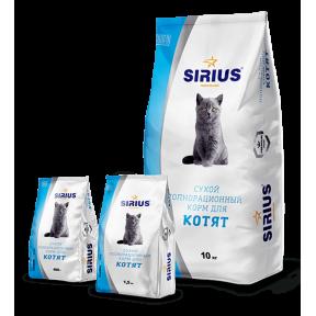 Сухой корм для котят Sirius Цыпленок 1.5 кг