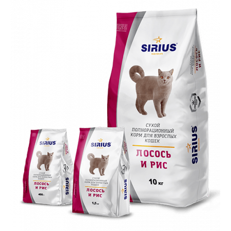 Сухой корм для взрослых кошек Sirius Лосось и рис 10 кг