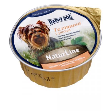 Влажный корм для собак Happy Dog Счастливый пёс, паштет телятина с рисом 125 г