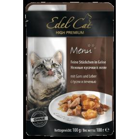 Влажный корм для кошек Edel Cat с гусем, с печенью (кусочки в желе) 100 г
