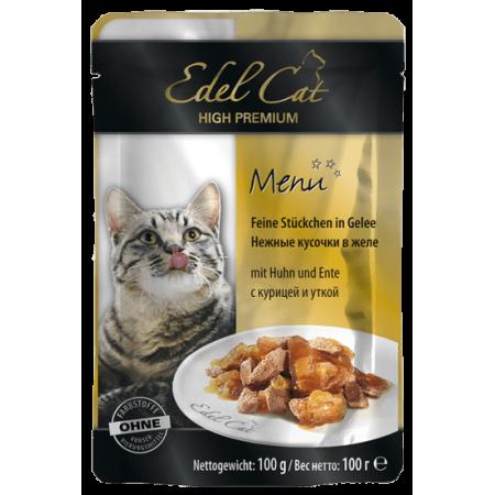 Влажный корм для кошек Edel Cat с курицей, с уткой (кусочки в желе) 100 г