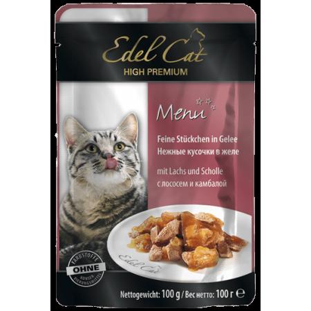 Влажный корм для кошек Edel Cat с лососем, с камбалой (кусочки в желе) 100 г