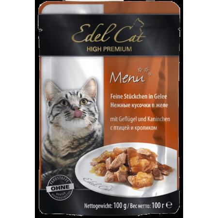 Влажный корм для кошек Edel Cat с птицей, с кроликом (кусочки в желе) 100 г