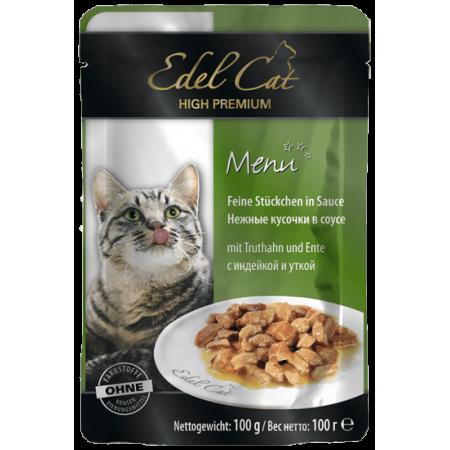 Влажный корм для кошек Edel Cat с индейкой, с уткой (кусочки в желе) 100 г