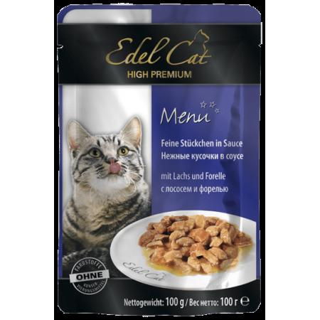 Влажный корм для кошек Edel Cat с лососем, с форелью (кусочки в желе) 100 г