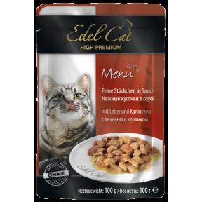 Влажный корм для кошек Edel Cat с печенью, с кроликом (кусочки в желе) 100 г