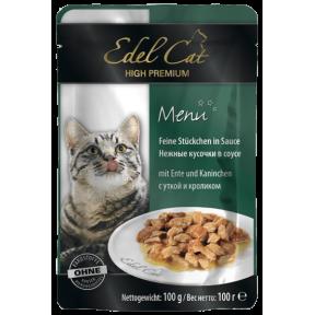 Влажный корм для кошек Edel Cat с уткой, с кроликом (кусочки в желе) 100 г