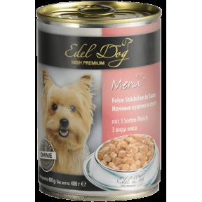 Влажный Корм для собак Edel Dog 3 вида мяса 400 г