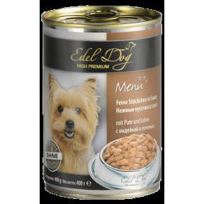 Влажный Корм для собак Edel Dog Индейка и печень 400 г