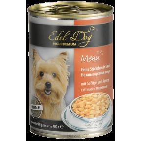 Влажный Корм для собак Edel Dog Птица и морковь 400 г