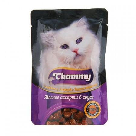 Влажный корм для кошек Chammy Мясное ассорти в соусе 85 г