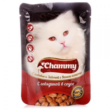 Влажный корм для кошек Chammy С говядиной в соусе 85 г