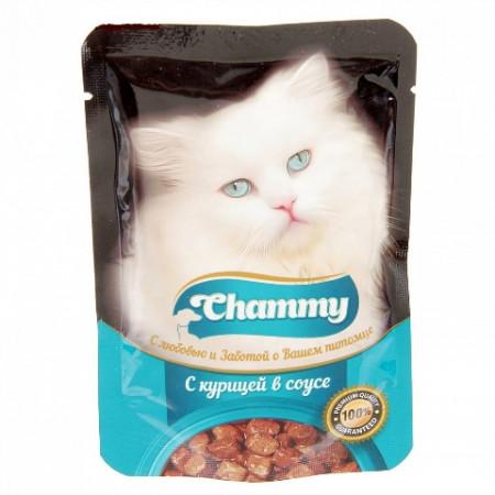 Влажный корм для кошек Chammy С курицей в соусе 85 г