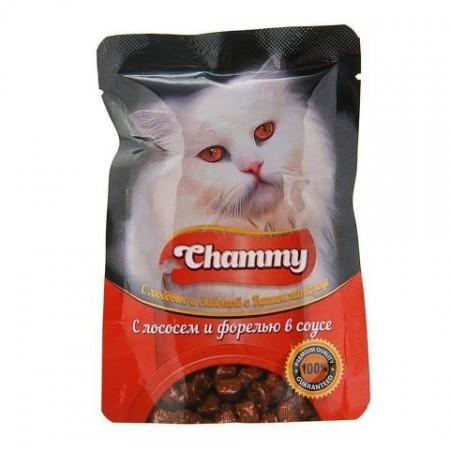 Влажный корм для кошек Chammy С лососем и форелью в соусе 85 г