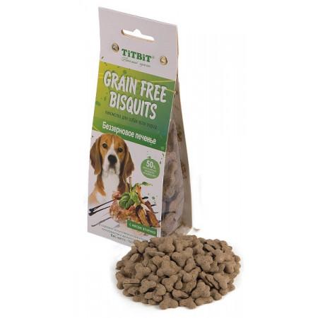 Лакомство для собак Titbit Grain Free Bisquits печенье беззерновое с мясом ягненка 100г