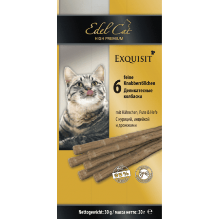 Лакомство для кошек Edel Cat Колбаски Курица, индейка и дрожжи
