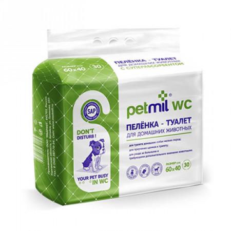 Пеленки для собак впитывающие Мedmil Petmil WC с суперабсорбентом 60х40 см, 30 штук